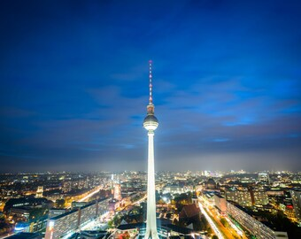 View of the Berlin TV Tower (Fernsehturm) at night, in Mitte, Berlin, Germany. Photo Print, Metal, Canvas, Framed.