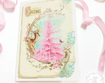 Christmas card, pink Christmas tree, deer card, vintage, traditional, holiday card, blank inside