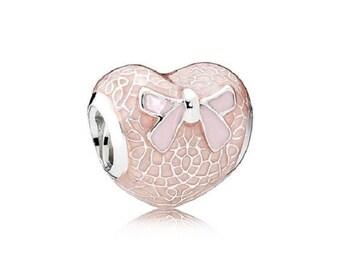 1 Light Pink Enamel Lace Heart European Bead for Charm Bracelets - 18i