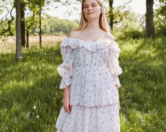 70s ruffled peasant dress | 70s peasant dress | off the shoulder vintage dress | vintage ruffle dress | ABLE shoppe