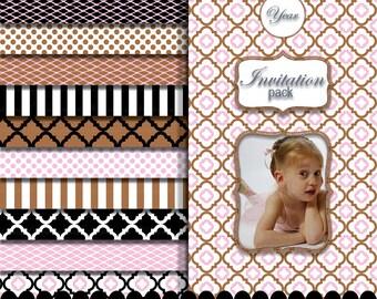 Pink Black digital paper clip art frame baby girl, Birthday scrapbooking pink brown paper background : p0207 3s374449C IP