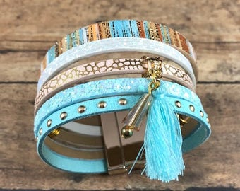 Blue & Beige 5 Strand Leather Cuff Bracelet with Silver Magnetic Clasp. Cuff leather bracelet, Bohemian and bangles stand cuff bracelet