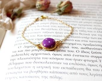 Violet Purple Bracelet, Polka Dot Bracelet, Button Charm Bracelet, Fabric Button Bracelet, Retro Dainty Jewel, Tiny Button Bracelet,