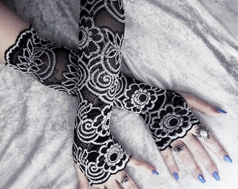 Isidore Lace Extra Long Arm Warmers - Black w/ White Floral Scroll - Belly Dance Vampire Bohemian Tribal Wedding Pixie Fetish Burlesque Emo