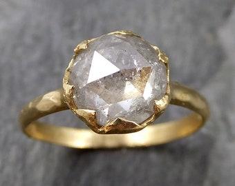Fancy cut white Diamond Solitaire Engagement 18k yellow Gold Wedding Ring byAngeline 1107