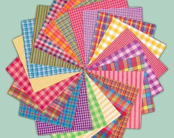 5 inch -- 40 Bright Homespun Quilt Squares