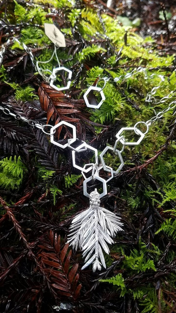 Redwood with Hexagons Statement Necklace - OOAK Northern California Forest Art Jewelry in Recycled Sterling Silver