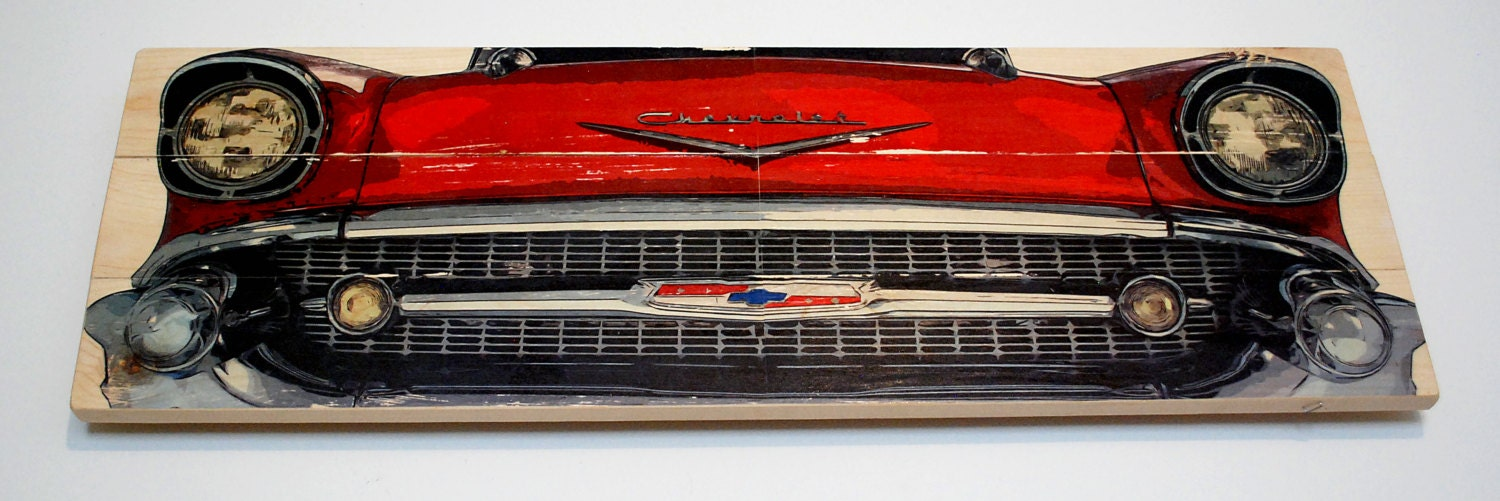 Large \'57 Chevy Bel-Air Car Wall Art on Solid Wood Boards - 32 x 11 ...