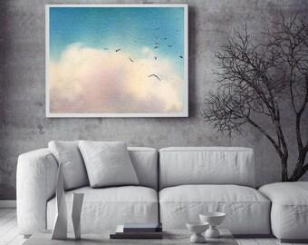 Blue Sky art print, watercolor print of sky and clouds, watercolor painting art, fine art print, modern wall art