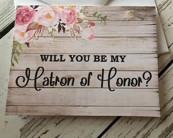 Will You Be My Matron Of Honor Card,  Matron Of Honor Proposal, Will You Be My Bridesmaid,  Maid of Honor, Flower Girl, Jr Bridesmaid