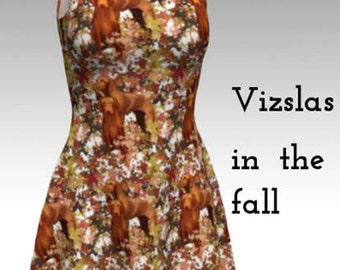 Vizsla and Autumn Leaves Flare dress