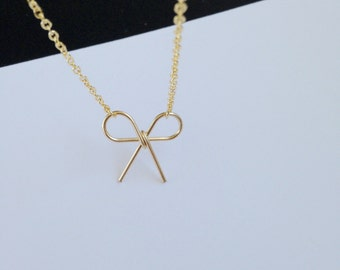 Gold Bow Necklace, Bow Necklace,Promise necklace, Simple jewelry, friendship love, bridesmaid bridal, gift for her, tie the knot.