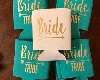 bride tribe can coolers, wedding cooler, bachelorette party, bride tribe, bride tribe party, bachelorette favor, bach weekend, can coolers