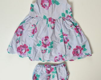 18-24 month Scalloped Hem Rose Print Dress with Diaper Cover