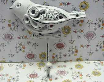 Bird Hook 5 x 5 Cast Iron Ornate Swirl Floral Shabby Style Chic Classic White Jewelry Key Pet Leash Rustic Beach Lake Woodland Wall Hook