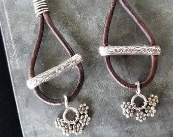 Leather and Sterling Hoop Earrings. Vintage Paterned  Sterling Bracelet Trim. 5 Sterling Flower Dangles on Each Earring.