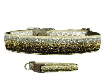 """Bling Dog Collar Black or Brown 3/8"""", 5/8"""" or 1"""" Buckle or Martingale Dog Collar"""