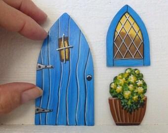 Set of Blue Door Window & Flower Pot Hand Painted Fairy Door Tooth Fairy Door Stained Glass Window Miniature Magic Door Acrylic on Wood #130