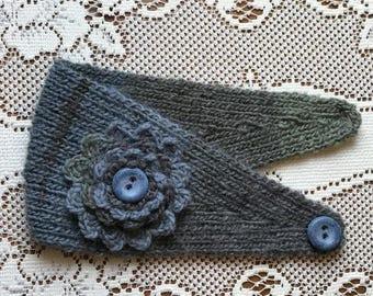 Hand Knit Headband / Ear Warmer in Shades of Grey and Dusty Blue (Item #33C)