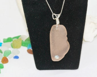 Sea Glass Necklace, Crystal Necklace, Sea Glass Jewelry, Lake Erie Beach Glass, Sea Glass, Gift For Mom, Mermaid Jewelry