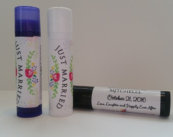 10 Custom All Natural or Vegan Lip Balms for Parties, Weddings & Announcements -Just Married - 10 Tubes per Lot - Free Shipping!