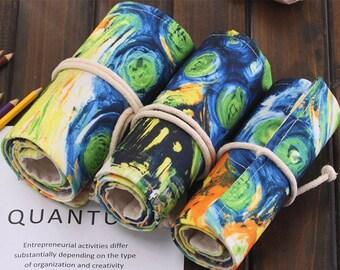 Van Gogh Abstract Painting Canvas Pen/Pencil Bag  - 36 holes