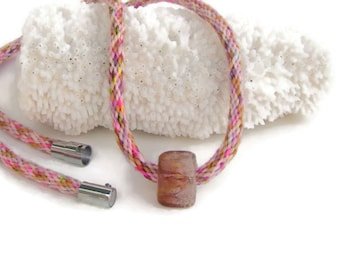 NEW-- woven, custom length, rainbow hand dyed specialty kumihimo necklace with magnetic clasp and handmade borosilicate glass bead