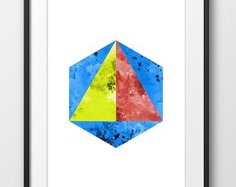 Hexagon Print, Triangle Art, Hexagon Watercolor, Simple Wall Art, Geometric Print, Nordic Design, Blue Green Yellow, Modern (No A0227)