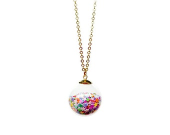 Star Spangle Glass Ball Necklace