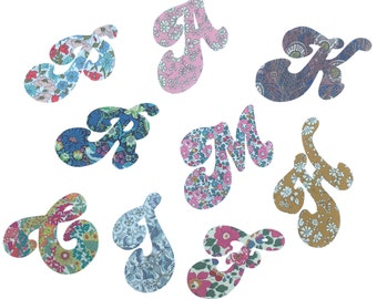 Liberty Print Applique20cm Retro Style Iron On Letters/ Applique Letters for Personalising/ Applique Initials/ Liberty Print Letters