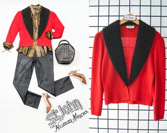 80s St John for Neiman Marcus red knit jacket with black FAUX curly lamb fur lapel - Size Small