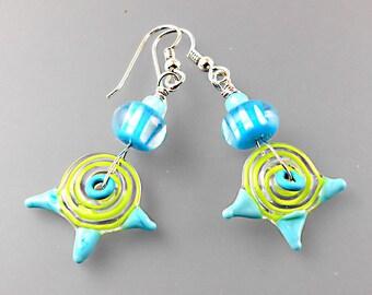 Swirly Girl Earrings - Handmade Lampwork Beads - Artisan - Jane Harter - Aqua - Sterling Silver - OOAK