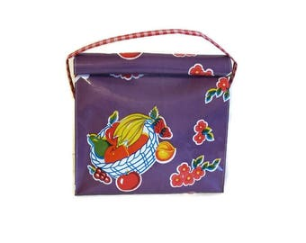 Bag,Snack,Lunch,Oilcloth,Purple,Fruit,Handbag,Strap,Vintage,Style,Reusable,Handmade,USA