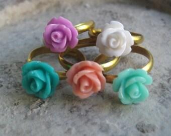 THREE Rose Rings - You Choose - 24 Colors
