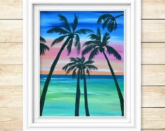 Palm Tree Art - Rainbow Painting - Beach Wall Art - Beach Painting - Coastal Decor - Gift for her - Palm Tree Painting -Original Artwork