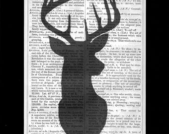 1 - Stags Head in Silouette upcycled vintage unique Art Print Dictionary Page