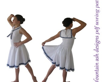 Sailor Costume Leotard circle skirt pdf sewing pattern girls sizes 2-14