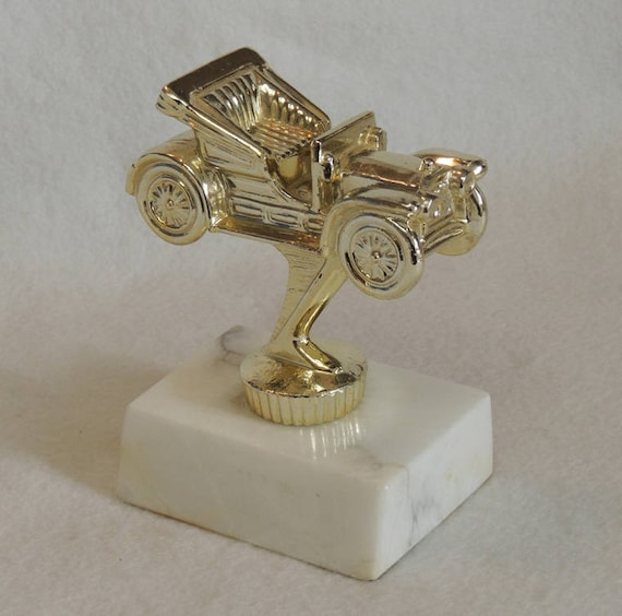 Vintage Trophy Paperweight.. Cast Metal Model T Automobile Car On Marble Base