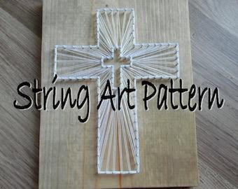 DIY Cross String Art Pattern, Cross String Art Pattern, String Art Cross Pattern, DIY String Art Pattern, Cross Art Pattern, Cross String