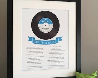 Our Song/First Dance framed print, First Dance Print, First wedding anniversary gift, Vinyl Record, First Dance lyrics, lyrics framed