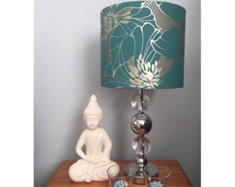 Teal and Gold Cylinder Lampshade (Lamp not included)