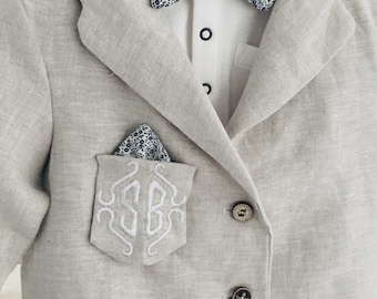 Boys linen blazer in neutral linen and cotton lining suitcoat jacket optional embroidered pocket