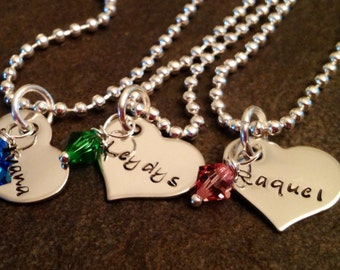 Personalized necklace with heart Swarovski crystal birthstone wedding bridesmaid daughter