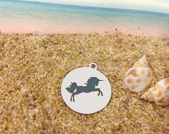 Unicorn - **Exclusive Line** Stainless Steel 2 Sides Polished Round Engraved Charm