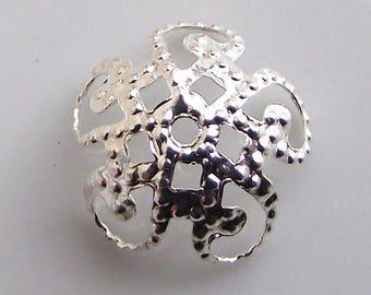 Silver 10 mm, set of 10 metal caps