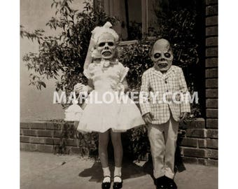 Creepy Halloween Decor Altered Vintage Photography Kids with Horror Masks Collage Art Print, 7 x 7 on 8.5 x 11 Inch Paper, frighten