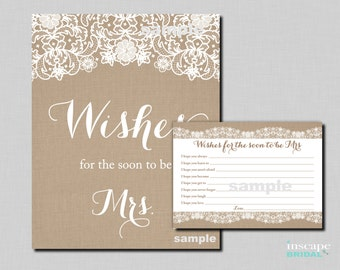 Wishes for the Soon to Be Mrs, Burlap, Lace - Burlap and Lace Bridal Shower Wishes for the Bride to Be - Rustic Bridal Shower Wishes Game