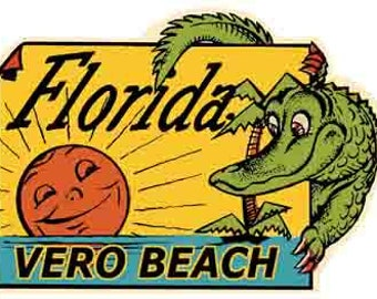 Vintage Style Vero Beach Florida FL  Travel Decal sticker