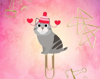 Valentine's Day Kitty Cat planner Paper Clips. 17 Fun Designs - Novelty Magnets & Planner Accessories - Party Favor Gifts and small gifts.