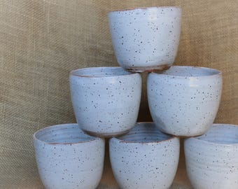 Succulent pottery planters, small wheel thrown speckled stoneware jars
